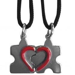 ciondolo spezzato cuore rosso e puzzle d689