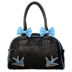 BLUE SWALLOWS BOWS HANDBAG BBN744