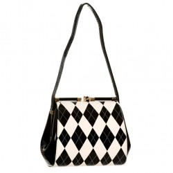 ELEANOR HANDBAG BG7111 BLACK WHITE