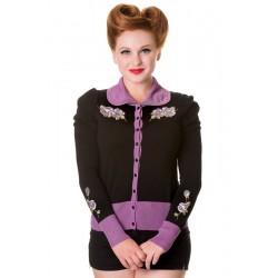 vintage flower cardigan black purple Banned