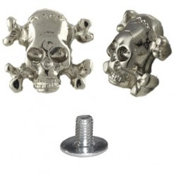 borchia teschio ossa argento con vite