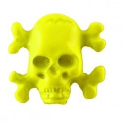 borchia teschio ossa giallo con vite