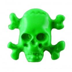 borchia teschio ossa verde con vite